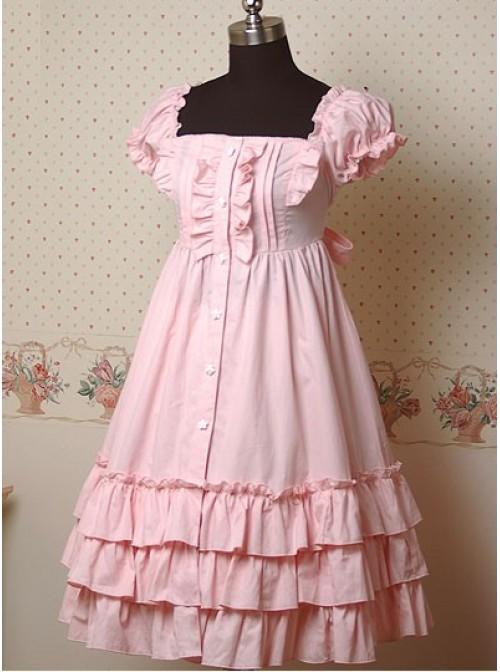 Pink Puff Short Sleeves Ruffle Lolita Dress