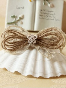 Elegant Light Gold Lace Bowknot Women Lolita Hairpin