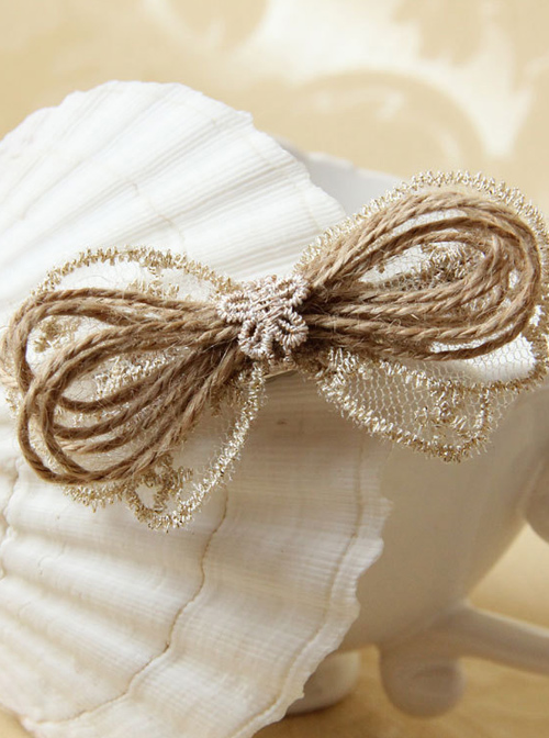 Elegant Light Gold Lace Bowknot Women Lolita Hairpin