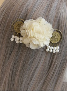 Classical Flowers Pearl Pendant Lady Lolita Hairpin