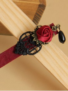 Black Lace Red Rose Black Pearl Pendant Girls Handmade Lolita Hairpin