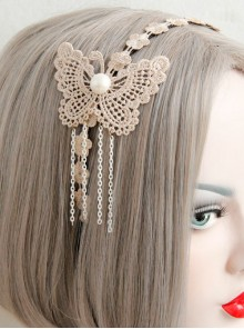 Lace Butterfly Chain Tassel Girls Handmade Lolita Hairpin