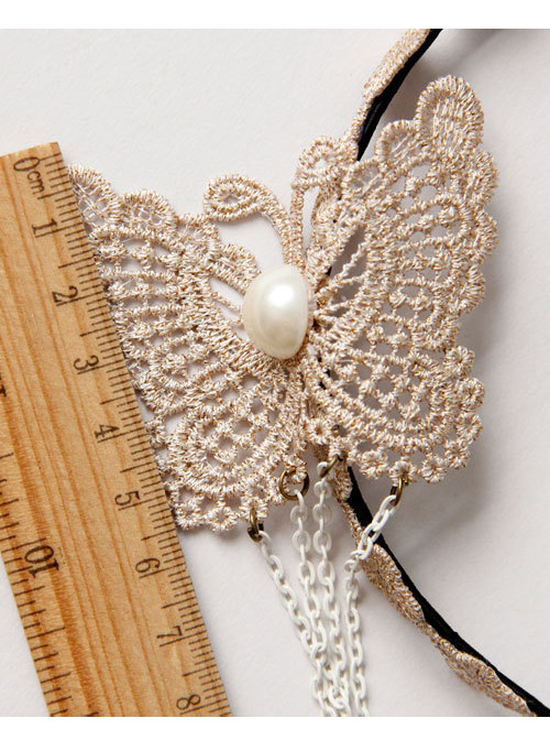 Lace Butterfly Chain Tassel Girls Handmade Lolita Hairpin