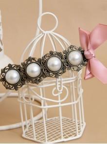 Elegant Pink Bowknot Classical Pearl Girls Lolita Hairpin
