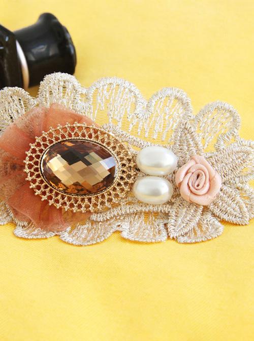 Classic Pearl Lace Flower Handmade Lolita Hairpin