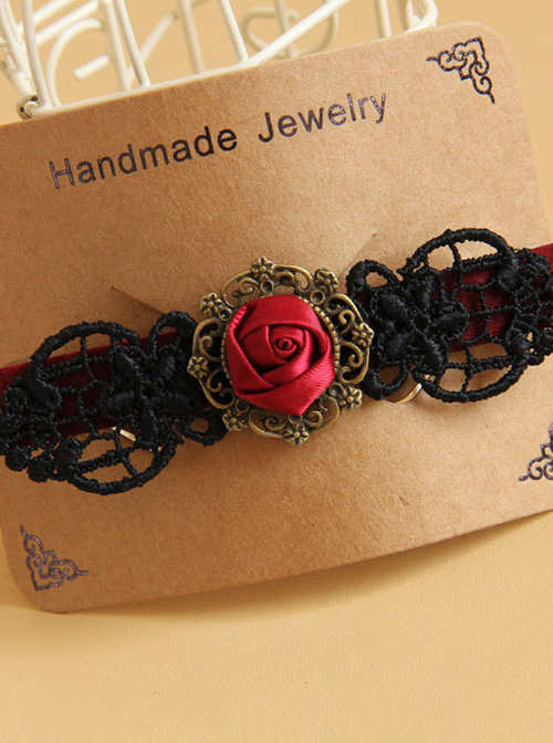 Black Lace Red Rose Gothic Lolita Hairpin