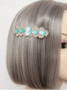 Retro Lace Green Pearl Decoration Lady Handmade Lolita Hairpin