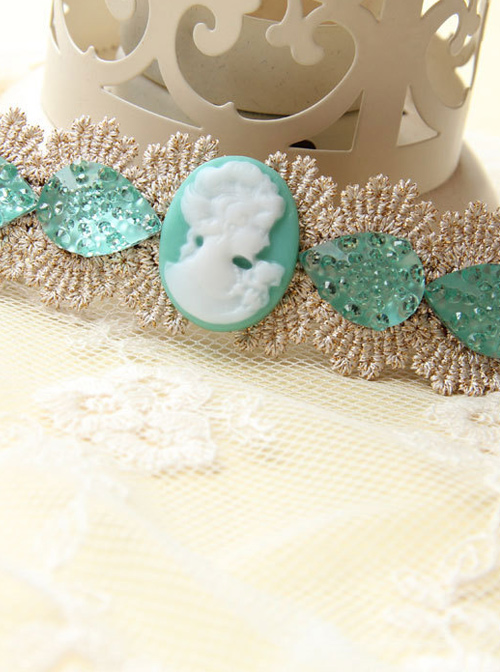 Retro Lace Green Pearl Decoration Lady Handmade Lolita Hairpin