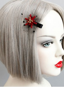 Lovely Handmade Red Floral Girls Lolita Hairpin