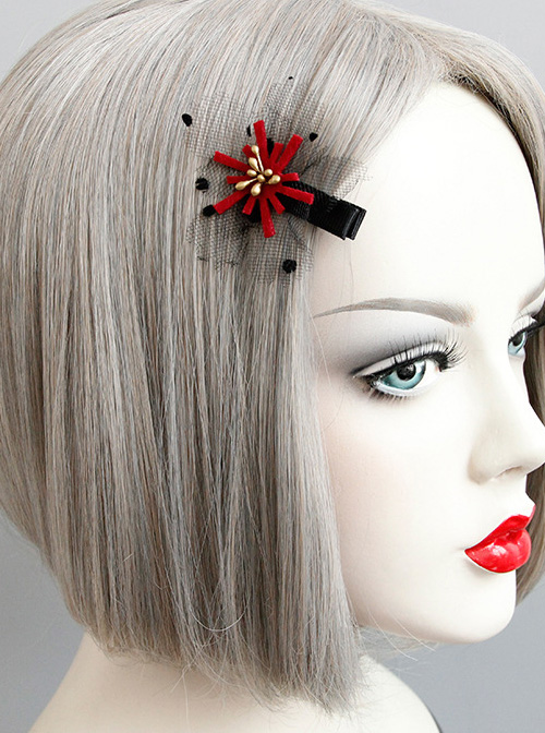 Lovely Handmade Red Floral Girls Lolita Hairpin