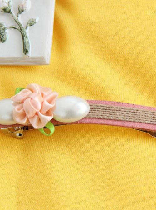 Cute White Pearls Pink Flower Girls Lolita Hairpin