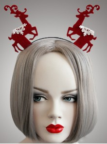Christmas Red Elks Cute Girls Lolita Head Hoop