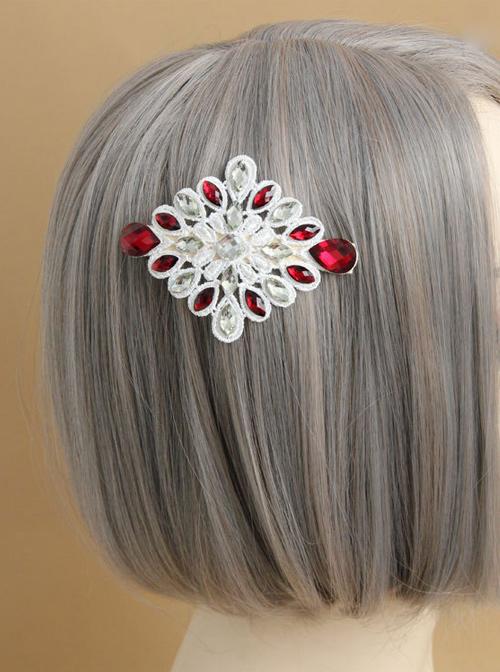 Gorgeous White Lace Rhinestone Lady Lolita Hairpin