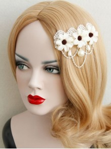 Elegant White Lace Flowers Lolita Hairpin