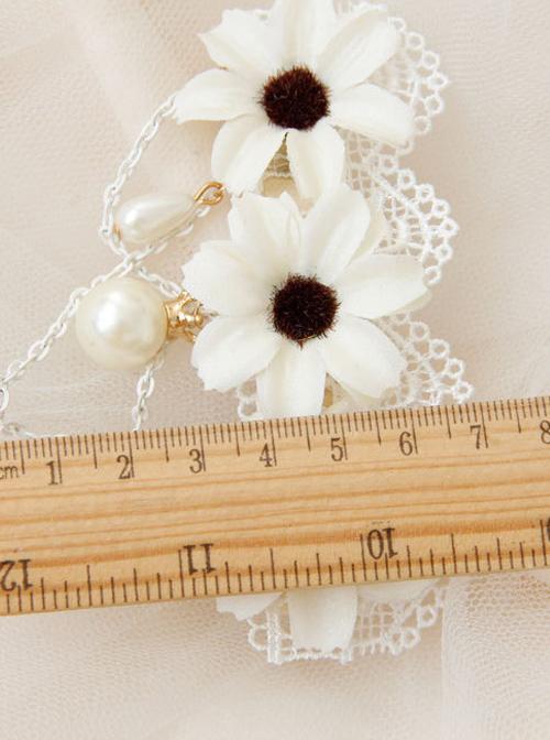 Elegant White Lace Flowers Lolita Hairpin