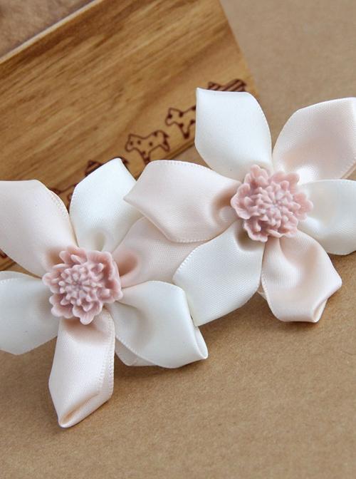 Pink Resin And Ribbon Flower Elegant Lolita Hairpins