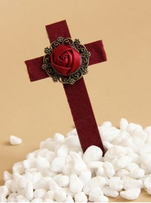 Gothic Wine Red Rose Cross Vampire Lolita Hairpin