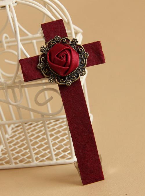 Gothic Wine Red Rose Cross Vampire Lolita Hairpin