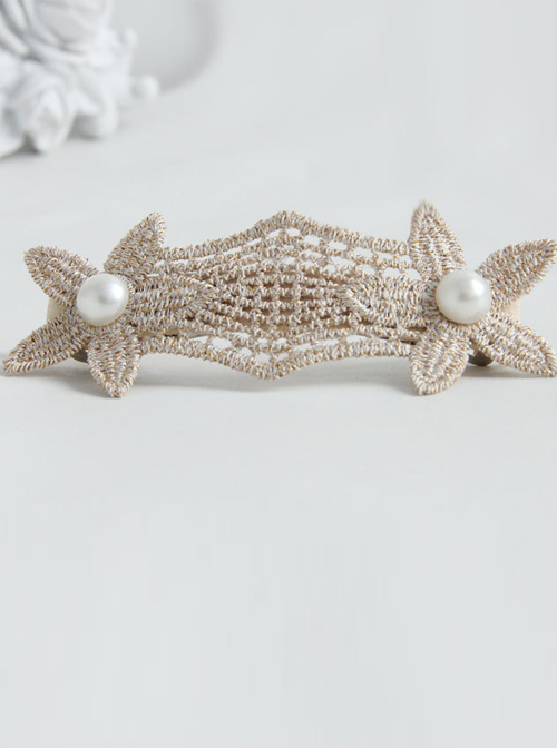 Lace And Pearls Flowers Lolita Hairpin