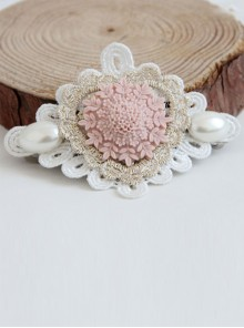 Heart Shape Lace Flower pearl Lolita Hairpin