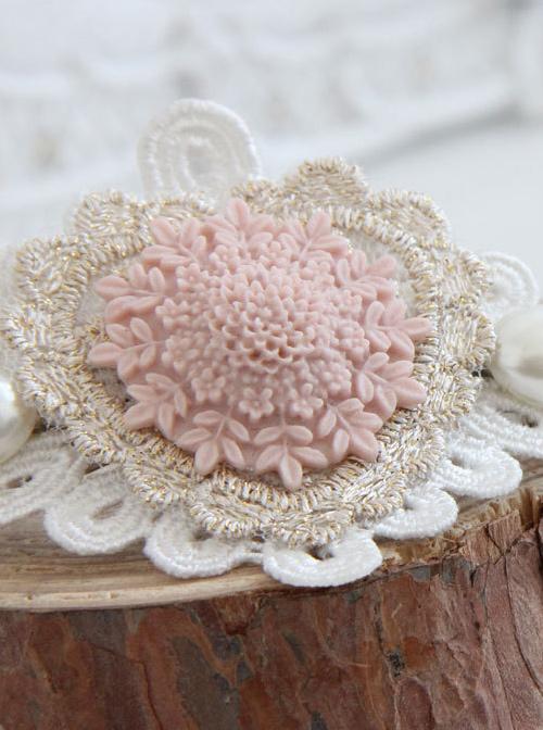 Heart Shape Lace Flower pearl Lolita Hairpin