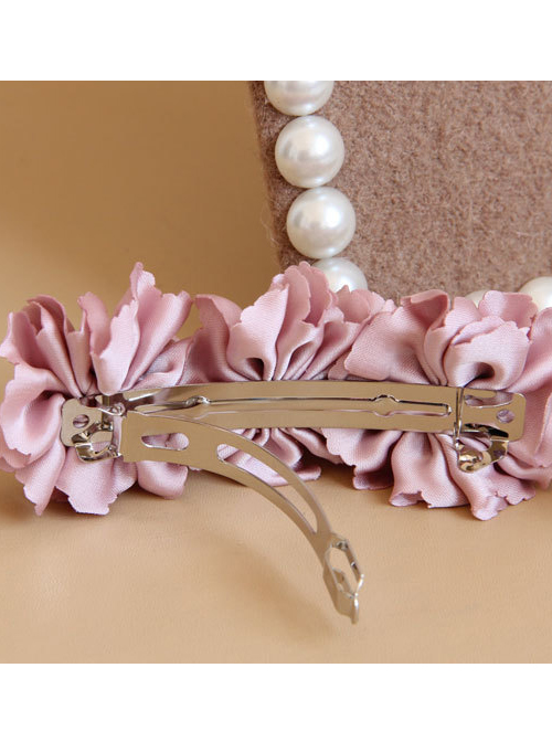 Palace Style Pink Cloth Pearl Flowers Lolita Hairpin