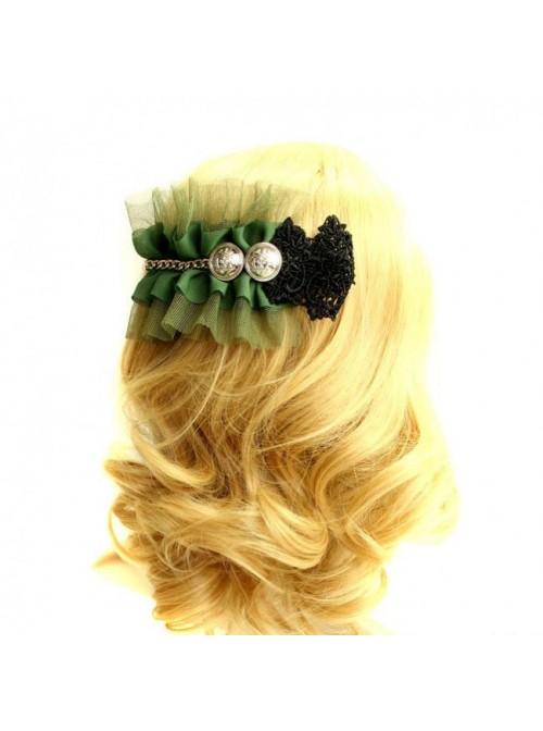 Green Lace Retro Lolita Hairpin