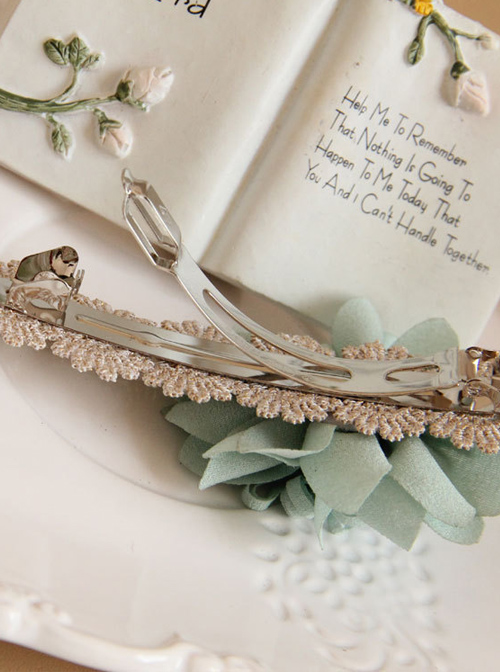 Green Flowers Lace Lolita Hairpin
