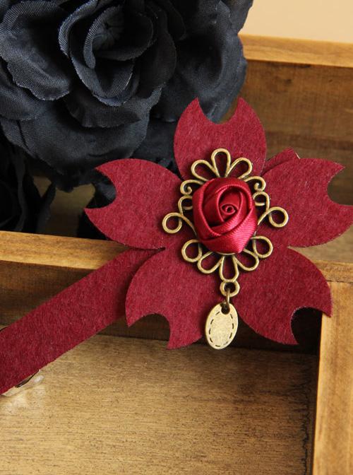 Christmas Wine Red Flower Lolita Hairpin