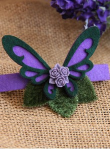Purple Butterfly Flower Lolita Hairpin