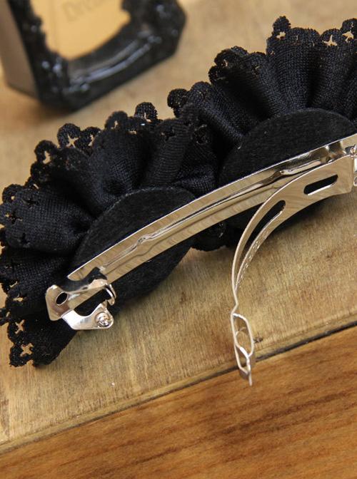Gothic Black Lace Flower Handmade Lolita Hairpin