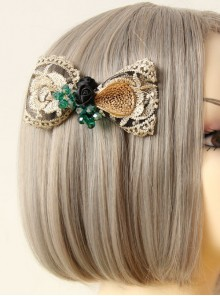 Palace Style Gorgeous Golden Lace Lolita Hairpin