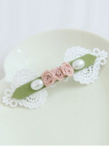 Pearl Lace Rose Girls Handmade Lolita Hairpin
