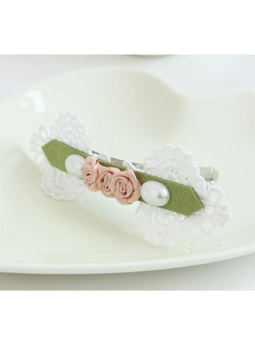 Pearl Lace Rose Girls Handmade Lolita Hairpin