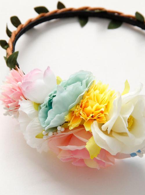 Beach Holiday Multicolor Flower Lolita Headband