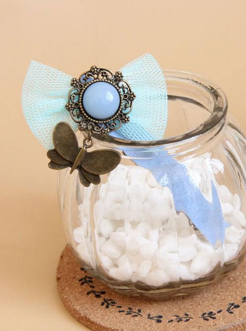 Cute Blue Bowknot Retro Butterfly Pendant Lolita Hairpin
