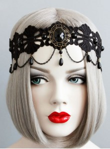 Black Lace Resin Rhinestones Pendant Lolita Headband