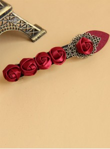 Handmade Retro Red Rose Lady Lolita Hairpin