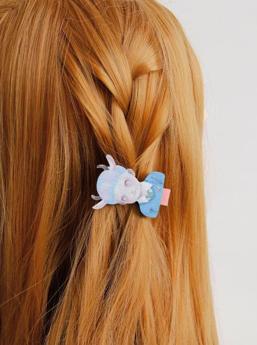 Funny Weird Doll Pattern Lolita Hairpin