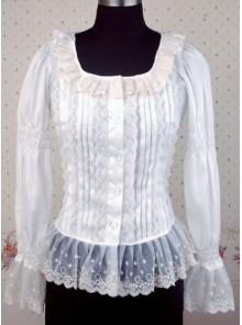 White Long Sleeves Lace Lolita Shirt