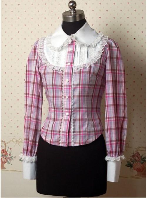 Pink Check Patten Long Sleeves Ruffle Lolita Shirt