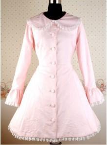 Pink Long Sleeves Round Collar Bow Lolita Coat