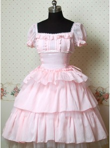 Pink Puff Sleeves Bow Cake Lolita Dress
