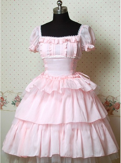 Pink Puff Sleeves Bow Cake Lolita Dress