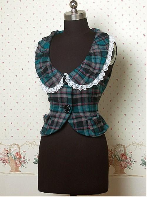 Thick Check Pattern Ruffle Bow Lolita Weskit