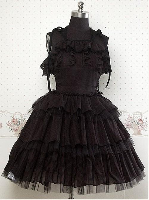 Chiffon Black Sleeveless Ruffles Lolita Dress