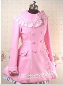 Pink Long Sleeves Lace Bow Lolita Coat