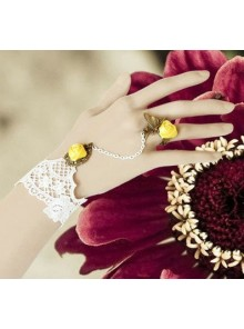White Lace Yellow Floral Lolita Bracelet And Ring Set