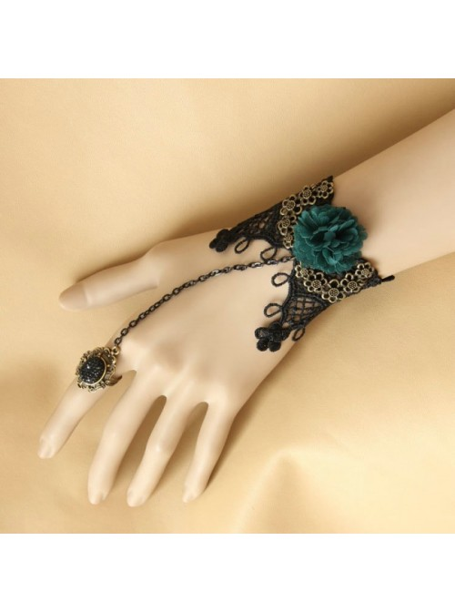 Classic Black Lace Rococo Floral Lady Lolita Bracelet And Ring Set