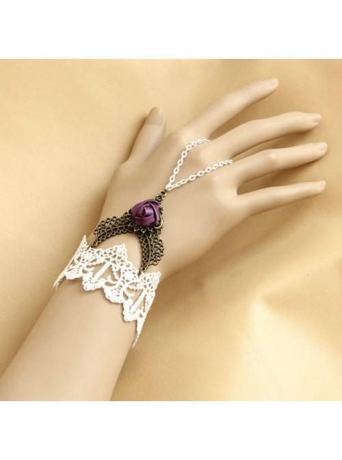 White Lace Purple Rose Lolita Wrist Strap